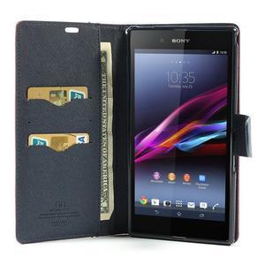 Peňaženkové PU kožené puzdro pre Sony Z Ultra - rose - 2