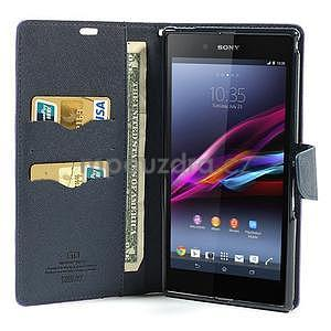 Peňaženkové PU kožené puzdro pre Sony Z Ultra - fialové - 2