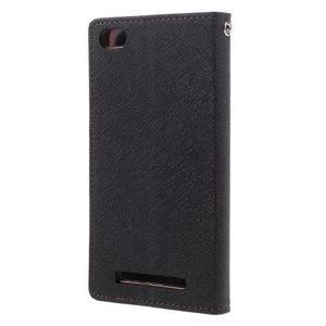 Diary PU kožené puzdro pre mobil Xiaomi Redmi 3 - čierne/hnedé - 2