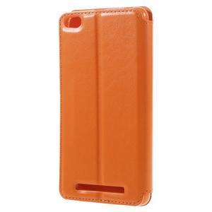 Luxy PU kožené puzdro s okienkom na Xiaomi Redmi 3 - oranžové - 2