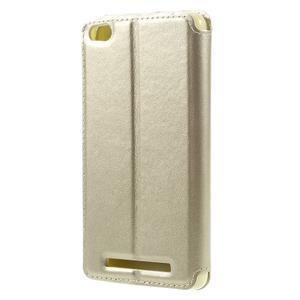 Luxy PU kožené pouzdro s okýnkem na Xiaomi Redmi 3 - zlaté - 2