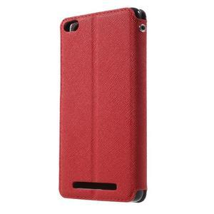 Diary view peňaženkové puzdro pre Xiaomi Redmi 3 - červené - 2