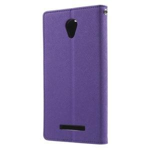 Goos PU kožené puzdro pre Xiaomi Redmi Note 2 - fialové - 2