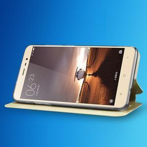 Vintage PU kožené pouzdro na mobil Xiaomi Redmi Note 3 - zlatorůžové - 2