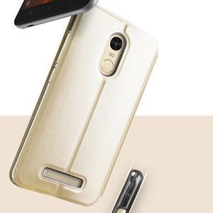 Vintage PU kožené pouzdro na mobil Xiaomi Redmi Note 3 - zlaté - 2