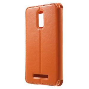 PU kožené pouzdro s okýnkem na Xiaomi Redmi Note 3 - oranžové - 2