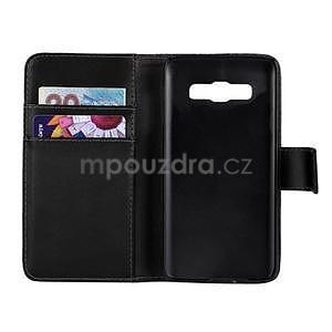 Kožené puzdro pre Samsung Galaxy A3    - čierné - 2