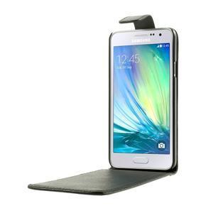 Kožené flipové puzdro na Samsung Galaxy A3 - čierné - 2