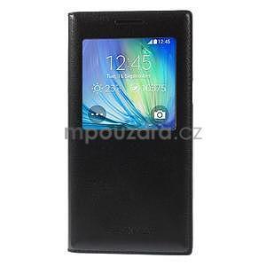 Kožené puzdro s okienkom pre Samsung Galaxy A5 - čierné - 2