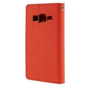 Štýlové textilné/PU kožené puzdro pre Samsung Galaxy Core Prime - oranžové - 2