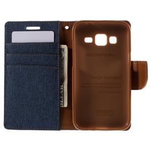 Štýlové textilné/PU kožené puzdro pre Samsung Galaxy Core Prime - modré - 2