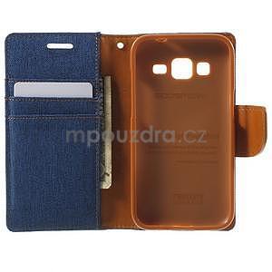 Štýlové textilné/PU kožené puzdro pre Samsung Galaxy Core Prime - jeans - 2