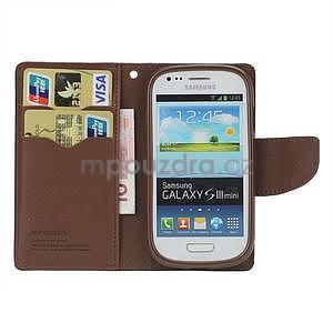 Diary peňaženkové puzdro pre mobil Samsung Galaxy S3 mini - čierne / hnedé - 2