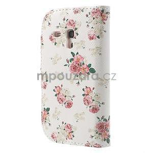 Peňaženkové puzdro na Samsung Galaxy S3 mini - kvety - 2