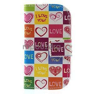 Peňaženkové puzdro pre Samsung Galaxy S3 mini - srdca - 2