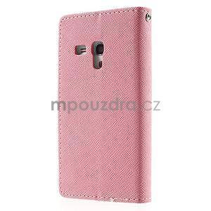 Diary peňaženkové puzdro na mobil Samsung Galaxy S3 mini - ružové/azúrové - 2