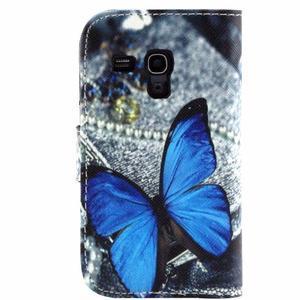 Peňaženkové púzdro pre Samsung Galaxy S3 mini - modrý motýľ - 2