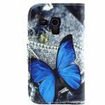 Peňaženkové púzdro pre Samsung Galaxy S3 mini - modrý motýľ - 2/4