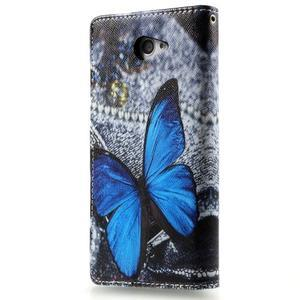 Peňaženkové puzdro pre mobil Sony Xperia M2 - modrý motýľ - 2