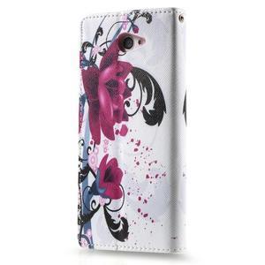 Peňaženkové puzdro pre mobil Sony Xperia M2 - kvety - 2