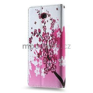 Peňaženkové puzdro pre mobil Sony Xperia M2 -  kvitnúca vetvička - 2