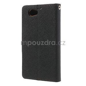 Fancy peňaženkové puzdro na Sony Xperia Z1 Compact - čierne/hnedé - 2