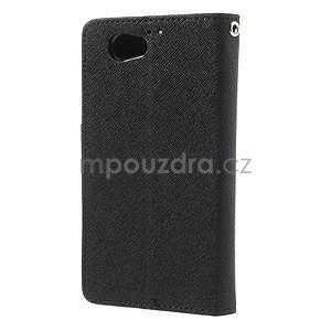 Fancy peňaženkové puzdro pre Sony Xperia Z1 Compact - čierne - 2