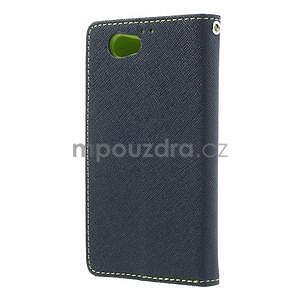 Fancy peňaženkové puzdro pre Sony Xperia Z1 Compact - tmavomodré - 2