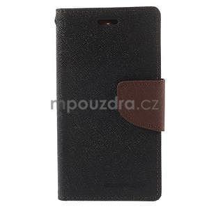 Diary Peňaženkové puzdro pre mobil Sony Xperia Z3 Compact - čierne/hnedé - 2