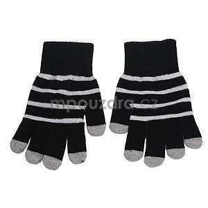 Pruhované rukavice pre práci s mobilom - čierné - 2