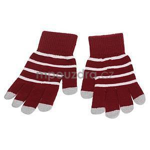 Pruhované rukavice pre práci s mobilem - červené - 2