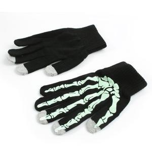 Skeleton rukavice pre dotykové telefony - čierné/zelené - 2