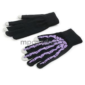 Skeleton rukavice na dotykové telefony - čierné/fialové - 2