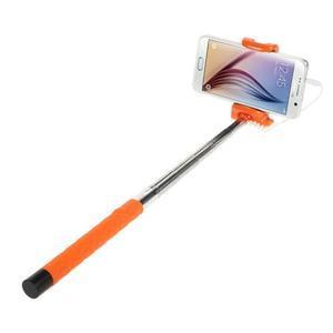 Selfie tyč s automatickým spínačom na rukojeti - oranžová - 2