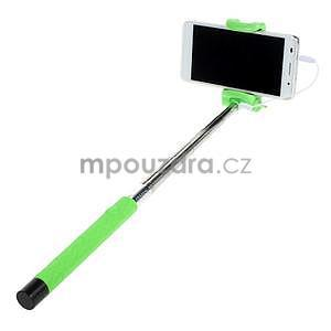 Selfie tyč s automatickým spínačem na rukojeti - zelená - 2