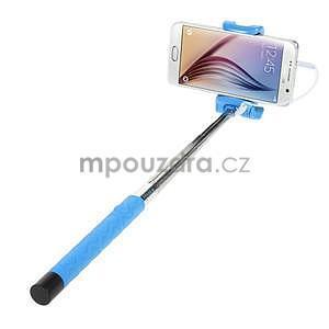 Selfie tyč s automatickým spínačom na rukojeti - svetlo modrá - 2