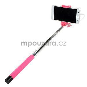 Selfie tyč s automatickým spínačem na rukojeti - rose - 2