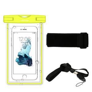 Fluorescent IPX8 voděodolný obal na mobil do 158 x 78 mm - černý - 2