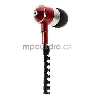 Dvoubarevná zipová sluchátka do uší, červená / čierná - 2
