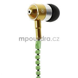 Dvoubarevná zipová sluchátka do uší, zelená / žltá - 2