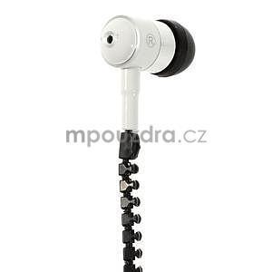 Dvoubarevná zipová sluchátka do uší, bílá / čierná - 2