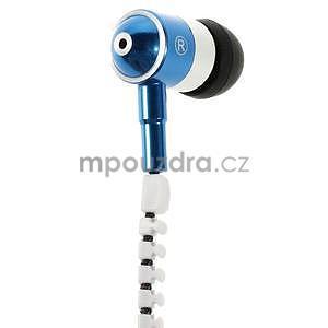 Dvoubarevná zipová sluchátka do uší, bílá / modrá - 2