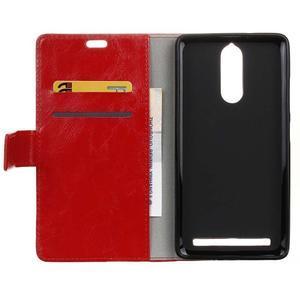 Horse PU kožené puzdro pre mobil Lenovo K5 Note - červené - 3