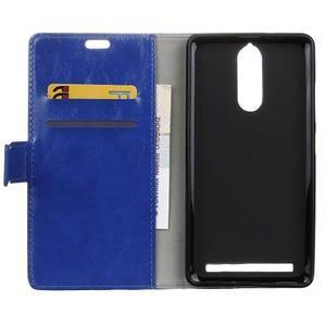 Horse PU kožené puzdro pre mobil Lenovo K5 Note - modré - 3