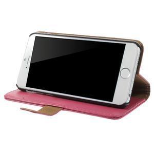 Peňaženkové kožené puzdro pre iPhone 6, 4.7 - ružové - 3