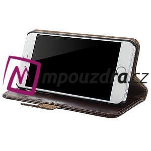Peňaženkové kožené puzdro na iPhone 6, 4.7 - hnedé - 3