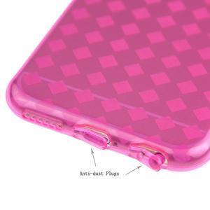 Gélové kostkované puzdro pre iPhone 6, 4.7 - ružové - 3