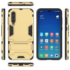 Kickstand odolný hybridný obal na Xiaomi Mi 9 SE - zlatý - 3