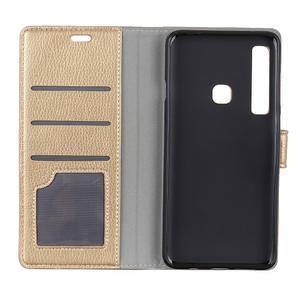 Litchi PU kožené peňaženkové puzdro s textúrou na Samsung Galaxy A9 - zlaté - 3