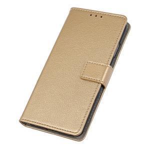 Litchi PU kožené peňaženkové puzdro na Samsung Galaxy A50 - zlaté - 3